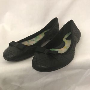 Born Black Leather Bow Ballet Flats Size 10.5